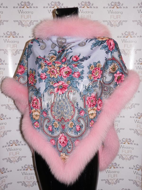 Шерстяной платок с мехом